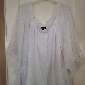 Lane Bryant 22/24 White On /Off Shoulder Shirt Top